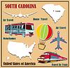 Flache Karte von South Carolina in den USA für Flugreisen b