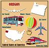Flache Karte von Oregon in den USA für Flugreisen mit dem Auto ein