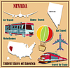 Flache Karte von Nevada in den USA für Flugreisen mit dem Auto ein