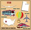 Flache Karte von Utah in den USA für Flugreisen mit dem Auto und
