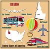 Flache Karte von Idaho in den USA für Flugreisen mit dem Auto