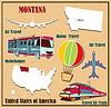 Flache Karte von Montana in den USA für Flugreisen mit dem Auto