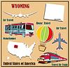 Flache Karte von Wyoming in den USA für Flugreisen mit dem Auto