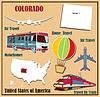 Flache Karte von Colorado in den USA für Flugreisen mit dem Auto