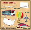 Flache Karte von North Dakota in den USA für Flugreisen