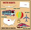Flache Karte von South Dakota in den USA für Flugreisen
