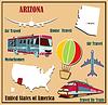 Flache Karte von Arizona in den USA für Flugreisen mit dem Auto