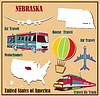 Flache Karte von Nebraska in den USA für Flugreisen mit dem Auto