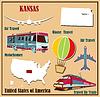 Flache Karte von Kansas in den USA für Flugreisen mit dem Auto ein