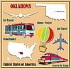 Flache Karte von Oklahoma in den USA für Flugreisen mit dem Auto