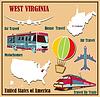 Flache Karte von West Virginia in den USA für Flugreisen