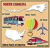 Flache Karte von North Carolina in den USA für Flugreisen b
