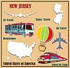Flache Karte von New Jersey in den USA für Flugreisen um ca.