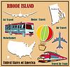 Flache Karte von Rhode Island in den USA für Flugreisen