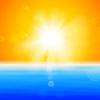 Hintergrund mit glänzenden Sonne über Meer