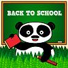 Zurück in der Schule Karte mit Panda