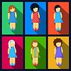 Set von Mädchen flache Ikonen mit bunten Kleidern