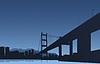 Großstadt und Brücke auf blauem Hintergrund
