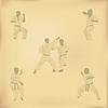 Set Bilder von Karate auf altem Papier