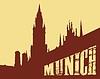 Contour von Gebäude der Stadt München auf Gelb