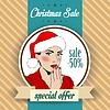 Weihnachten Verkauf Design mit sexy Santa girl