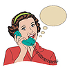 Popart Comic-Retro-Frau sprechen per Telefon