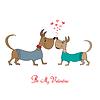 Valentinstag-Grußkarte mit Comic-Hund