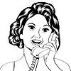 Pop-Art-Dame am Telefon plaudert