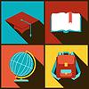 Hintergrund mit Bildung-Ikonen in flachen Design-Stil