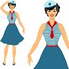 Schöne Pin up Seemann Mädchen Stil der 1950er Jahre