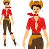 Schöne Pin up Cowgirl Stil der 1950er Jahre