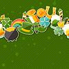 St. Patrick `s Day nahtlose Muster mit Aufklebern