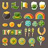 St. Patrick `s Day Aufkleber Symbole Set