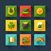 St. Patrick `s Day Symbole im flachen Design-Stil