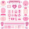 Mädchen Baby-Dusche-Satz von Elementen für Design