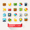 Set-Banking-Icons in flachen Design-Stil