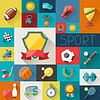 Hintergrund mit Sport-Symbole in flachen Design-Stil