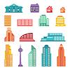 Stadtansicht Icon-Set von Gebäuden