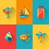 Reise-und Tourismus-Symbol in flachen Design-Stil Set