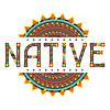 Ureinwohner. Design-Wort mit Ornament
