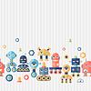 Nahtlose Muster Roboter in flachen Stil