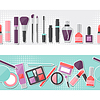 Nahtlose Hintergrund mit Kosmetik Aufkleber Symbole