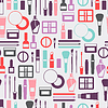 Nahtlose Hintergrund mit Kosmetik-Symbole