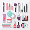 Set farbige Symbole in Kosmetika flachen Stil