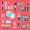 Set von farbigen Kosmetik Aufkleber Symbole