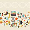 Wissenschaft nahtlose Muster im flachen Design-Stil