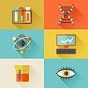 Wissenschaft Symbole im flachen Design-Stil