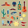 Sammlung der mexikanischen Aufkleber in einheimischen Stil
