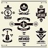 Mexican Satz von Etiketten und Aufkleber mit Symbolen