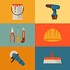 Reparatur und Bau mit Arbeitswerkzeugen Symbole